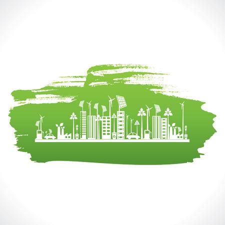 artistic design of go green or save earth design concept vector Иллюстрация