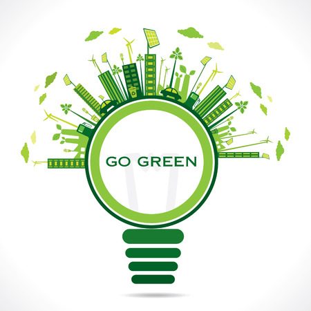 creative design for go green or save earth concept vector Illustration