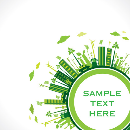save the earth: go green earth or green city save earth concept vector