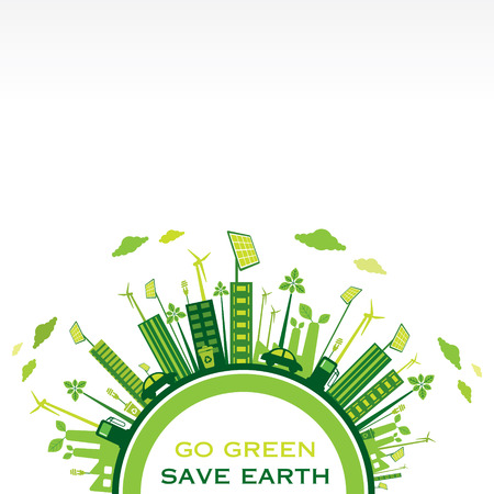 go green or save earth background concept vector Иллюстрация