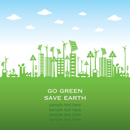 recycling plant: green city or go green or save earth concept Illustration