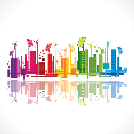 colorful ecology or renewable energy city background vector Vector