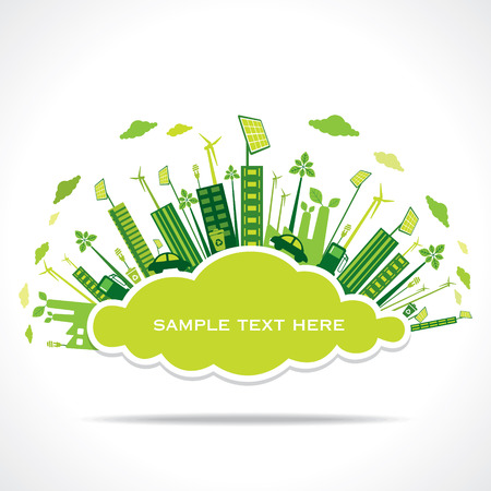 go green or save earth with cloud shape sticker to write your text concept vector