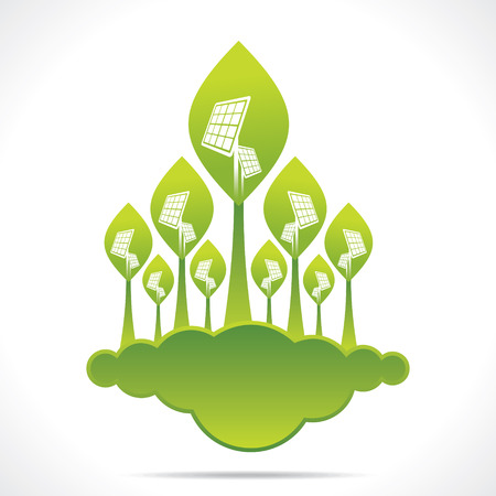 creative green forest of solar panel background vector Vector
