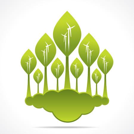 windfarm: foresta verde creativo del mulino a vento di sfondo disegno vettoriale