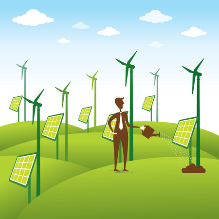 warmness: creative renewable energy source or men giving water to windmill or solar panel concept vector