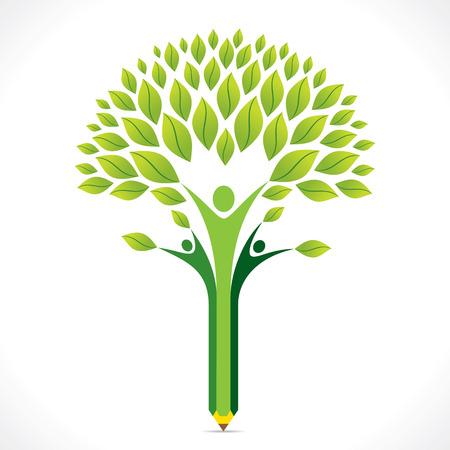 educacion ambiental: creativo verde �rbol l�piz de dise�o vectorial