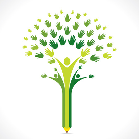 pencil plant: creative kids pencil hand tree design for support or helping concept vector