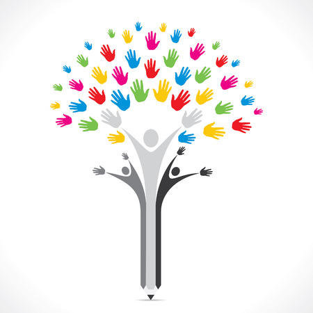 colorful hand pencil tree support or united concept vector Illustration