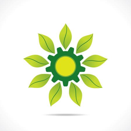 industrial icon: creative green industrial icon design concept vector Illustration