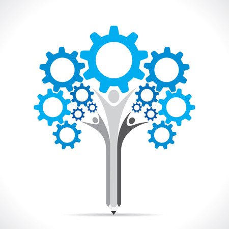 creative gear pencil tree design concept vector