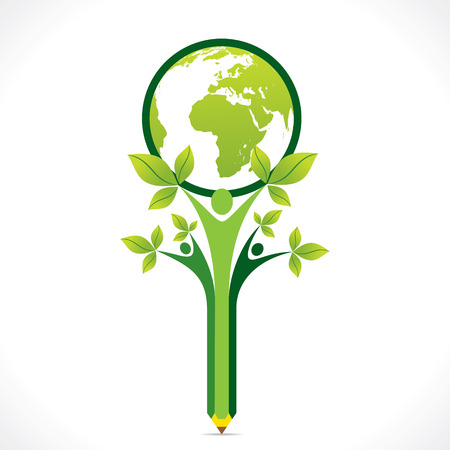 creative go green or save earth support by people or children concept vector