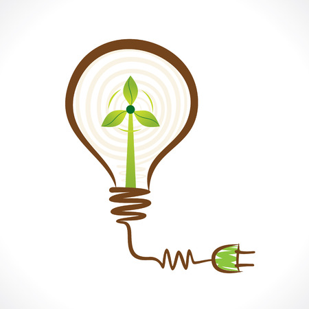 windpower: creative renewable energy concept wind mill in bulb vector Illustration