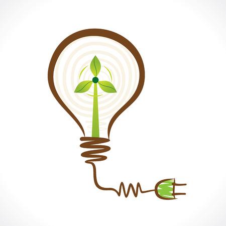 windfarm: creativo concetto di energia rinnovabile mulino a vento in lampadina vettore