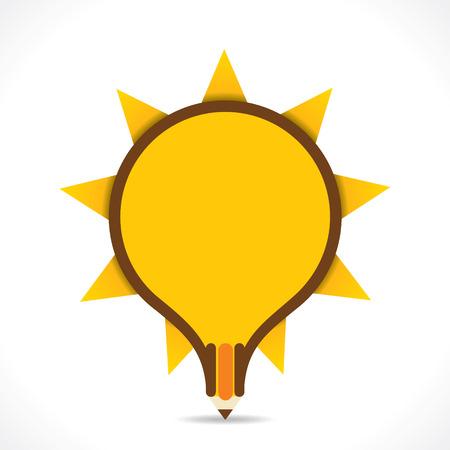 creative children pencil design like bulb shape with rays design vector Иллюстрация