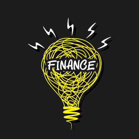 creative finance concept word on sketch bulb design vector Vector