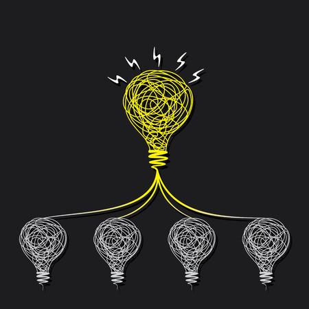 Equipe: petite idée faire beaucoup d'idée ou chaque ampoule connecter à petit bulbe concept vecteur