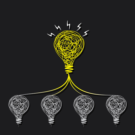 team working together: small idea make big idea or every bulb connect to small bulb concept vector Illustration