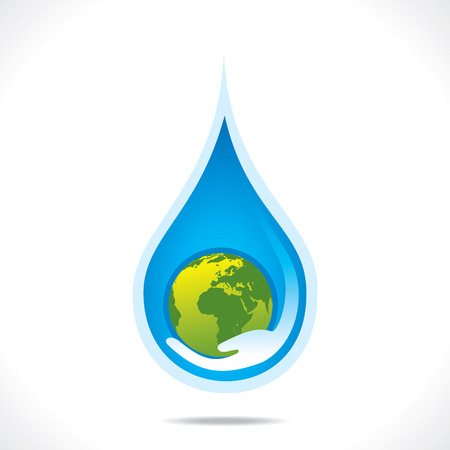 reflection in water: save earth or save water in hand concept vector Illustration