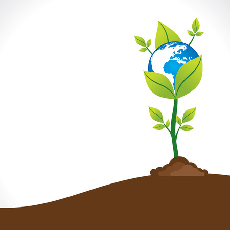 blue earth hold in the green plant or save earth concept vector