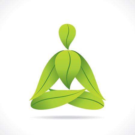 creative yoga pose design with green leaf vector Иллюстрация