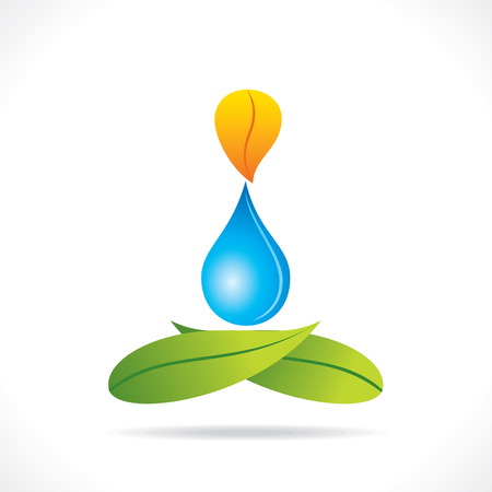 creative yoga pose design with leaf and water drop concept vector