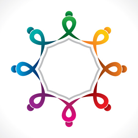 unity: creative teamwork icon design by colorful people concept vector Illustration