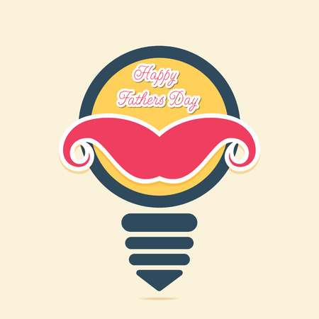 editable sign: happy fathers day greeting design , mustache placed on bulb concept vector