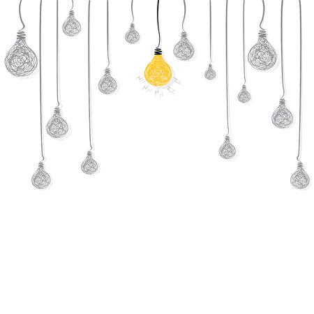 creative new idea bulb glow background vector