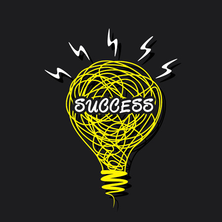 creative success word on sketch bulb design vector Vector