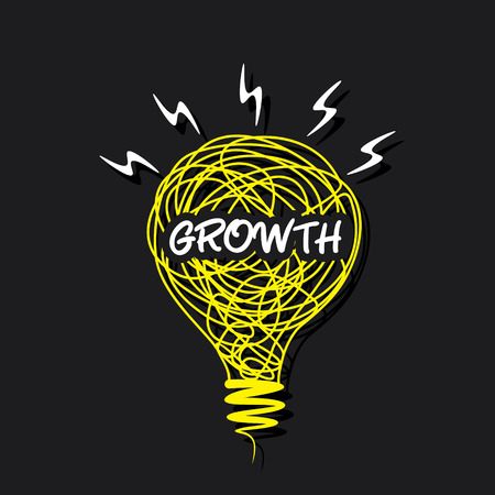 growth word on sketch bulb design vector Vector