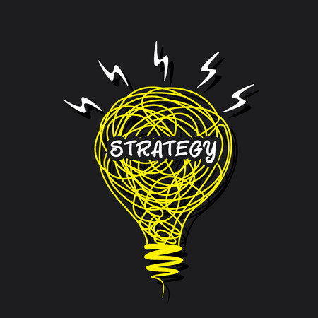 strategy word on sketch bulb design concept vector Vector