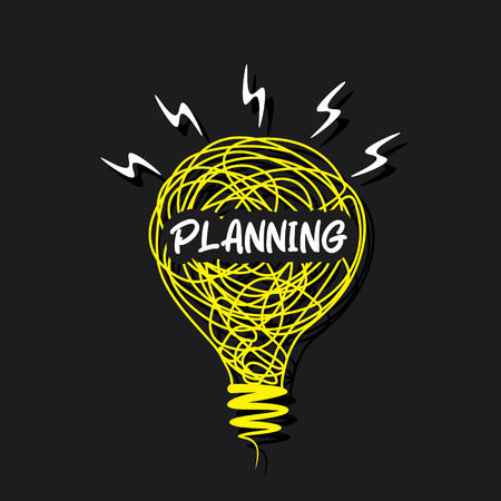 planning word on sketch bulb design concept vector Vector