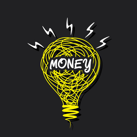 creative money word on sketch bulb design concept vector Vector