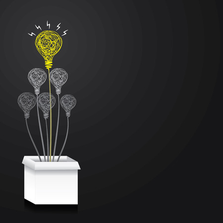 think out of the box concept or bulb or new idea out of the box concept vector