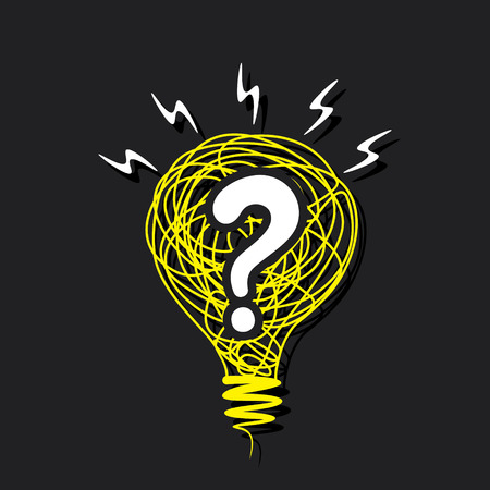 answer: question mark in the sketch bulb concept vector