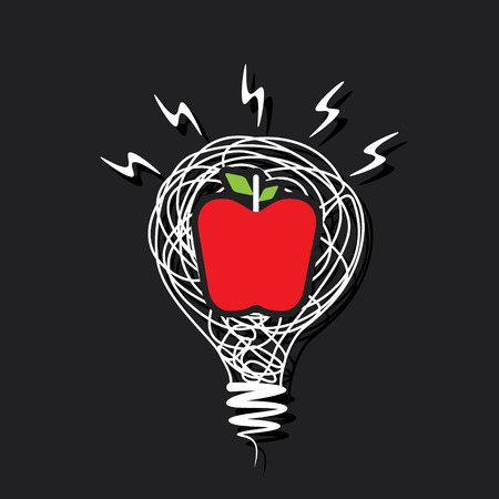 light classroom: creative red apple icon on sketch bulb vector Illustration