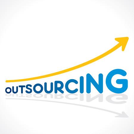 creative outsourcing word graph design vector Ilustração