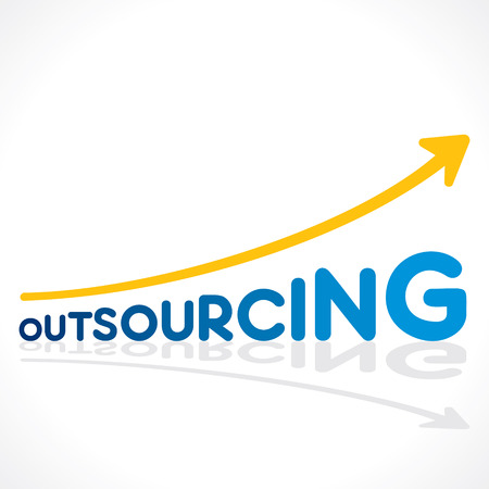 creative outsourcing word graph design vector Illustration