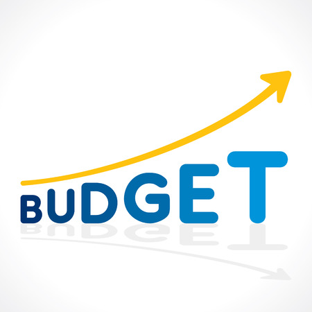 financial condition: creative budget word growth graph vector Illustration