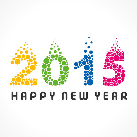bubble background: Happy new year greeting 2015 stock vector