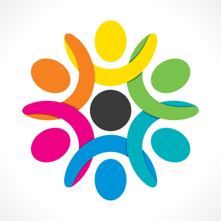 creative colorful people teamwork or discussion icon design