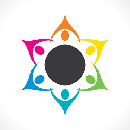 community help: creative colorful people teamwork or discussion icon design