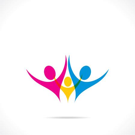creative colorful family icon design Vector