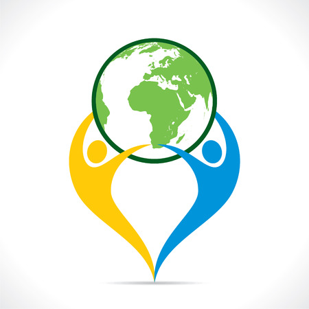save the earth: save earth or go green icon design vector