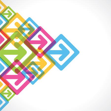 창조적 인 다채로운 화살표 이동 배경 벡터