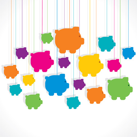 colorful hang piggy bank background vector Vector