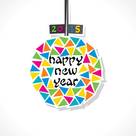 creative colorful ball new year 2015 greeting background vector Vector