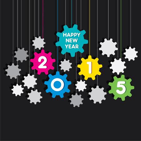 happy new year 2015 gear background vector Vector
