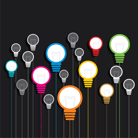 blue green background: creative colorful bulb background vector